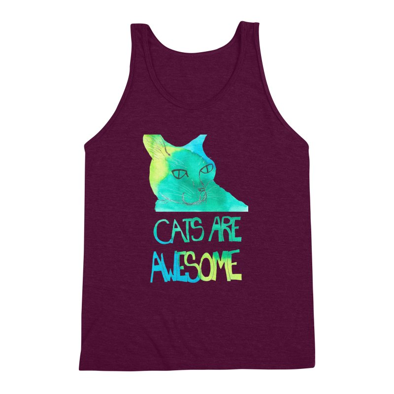 Cats Are Awesome Men's Triblend Tank by Eli Trier Artist's Shop