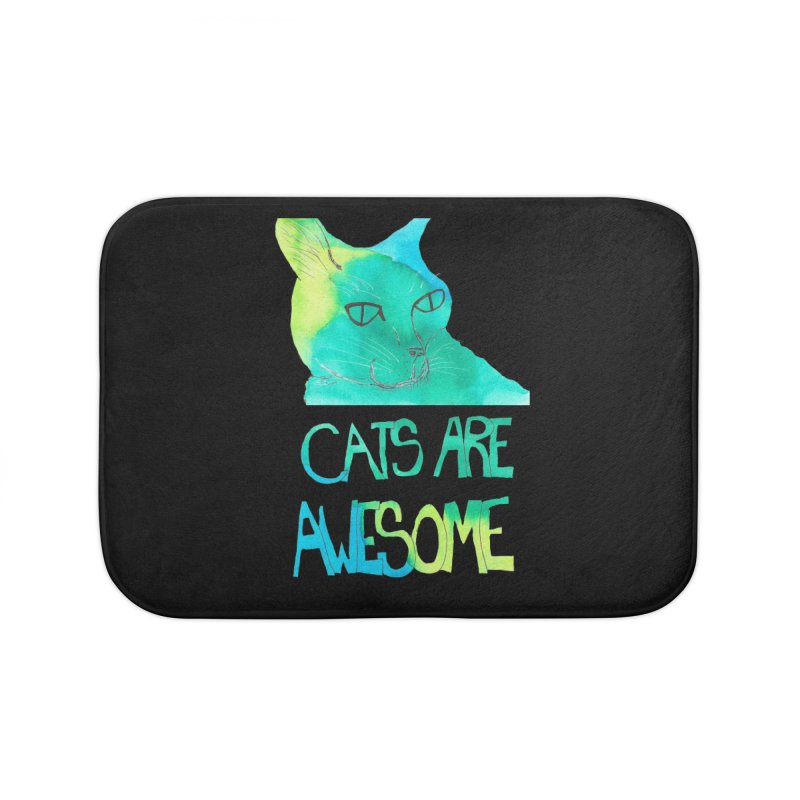 Cats Are Awesome Home Bath Mat by Eli Trier Artist's Shop