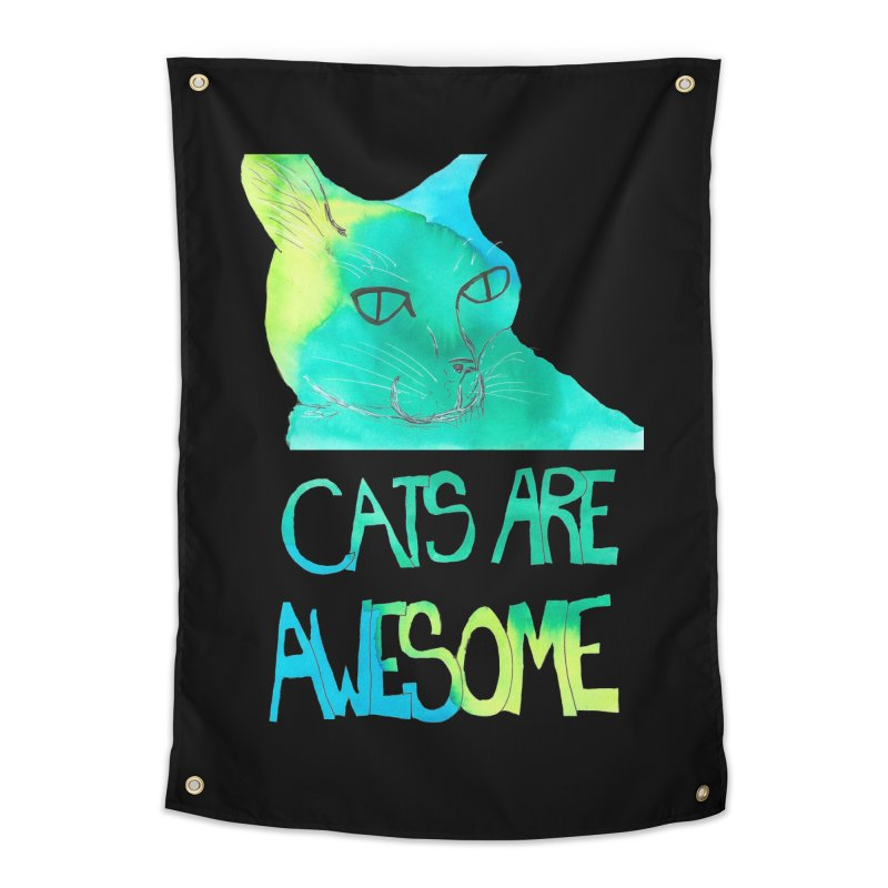 Cats Are Awesome Home Tapestry by Eli Trier Artist's Shop
