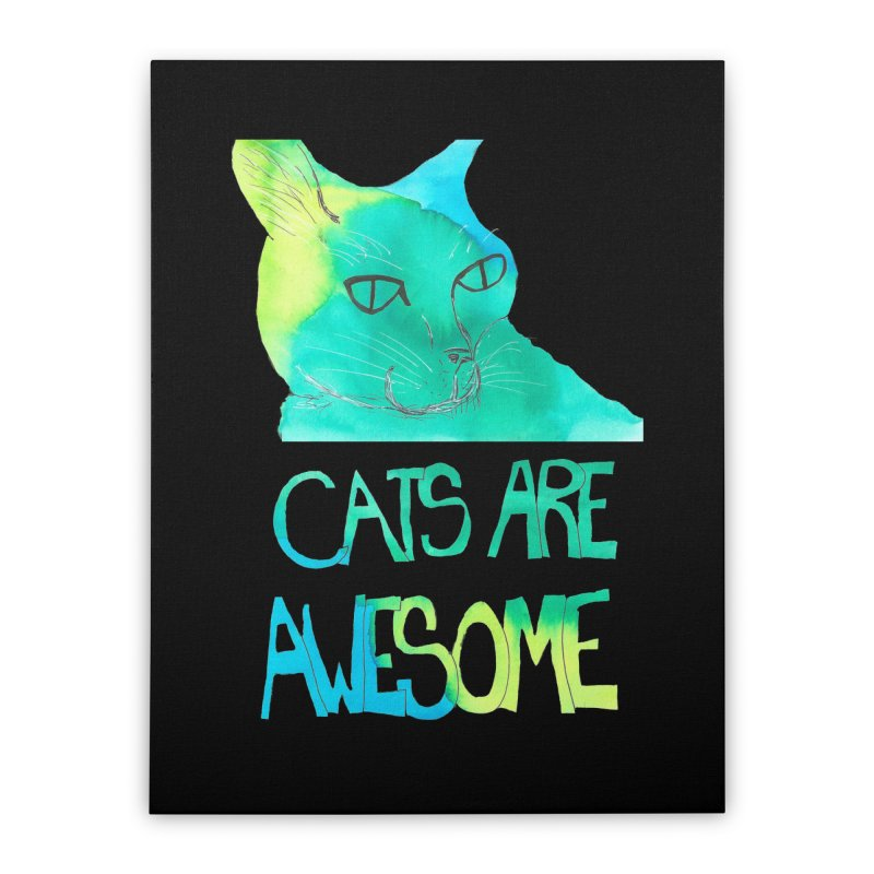 Cats Are Awesome Home Stretched Canvas by Eli Trier Artist's Shop