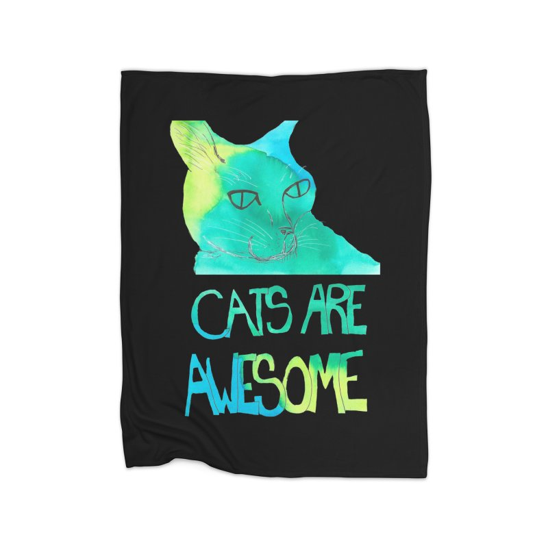 Cats Are Awesome Home Blanket by Eli Trier Artist's Shop