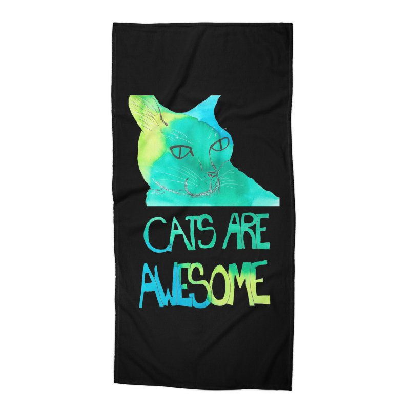 Cats Are Awesome Accessories Beach Towel by Eli Trier Artist's Shop