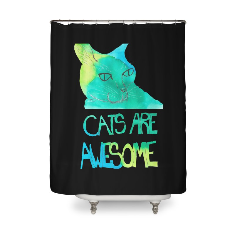Cats Are Awesome Home Shower Curtain by Eli Trier Artist's Shop