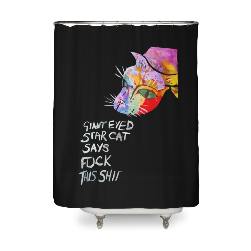 Star Cat Home Shower Curtain by Eli Trier Artist's Shop