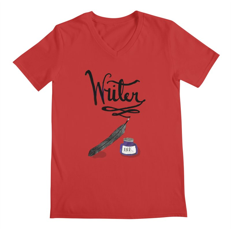 Writer Men's V-Neck by Eli Trier Artist's Shop