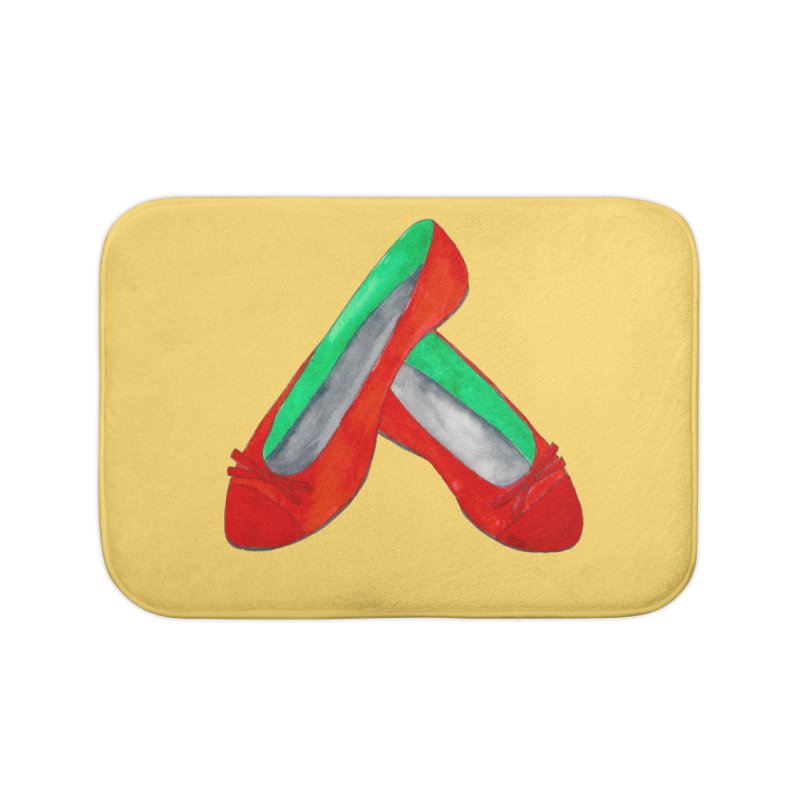 Red Shoes Home Bath Mat by Eli Trier Artist's Shop