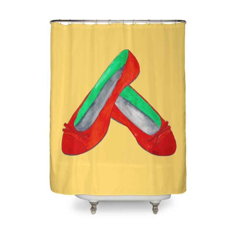 Red Shoes Home Shower Curtain by Eli Trier Artist's Shop
