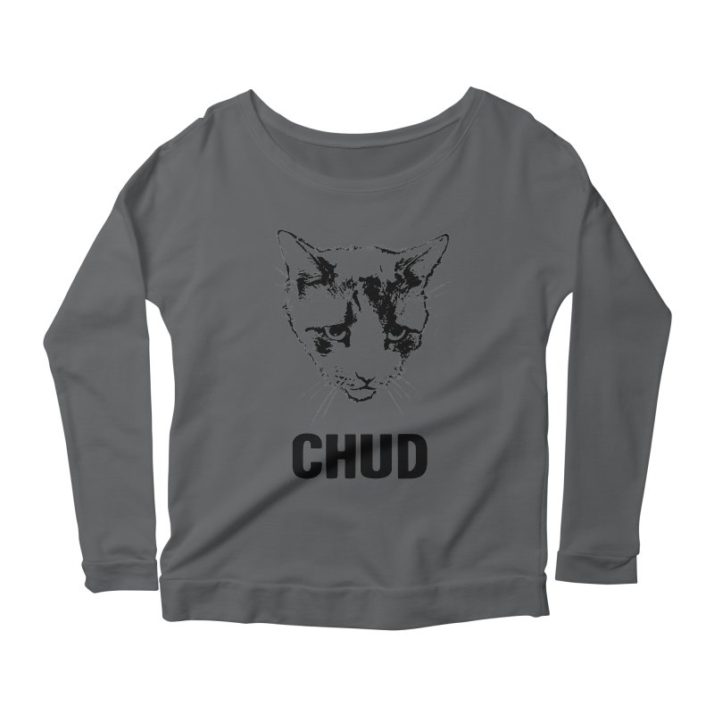 CHUD (white & gray) Women's Longsleeve Scoopneck  by e l i z a