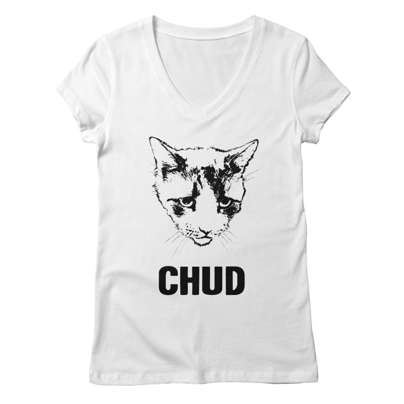 CHUD (white & gray) Women's V-Neck by e l i z a