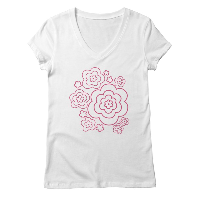 Flower Power Women's Regular V-Neck by elizabethreay's Artist Shop