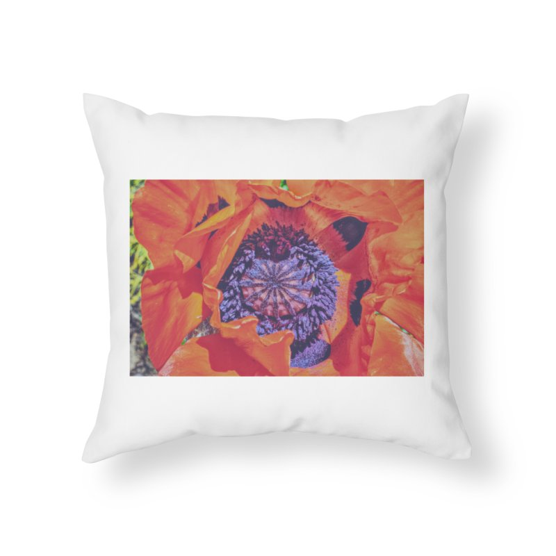 Poppy Burning Bright Home Throw Pillow by Ella Arrow, Curator of Wonder