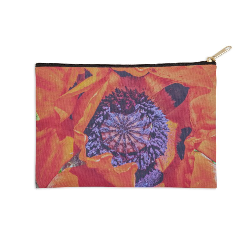 Poppy Burning Bright Accessories Zip Pouch by Ella Arrow, Curator of Wonder