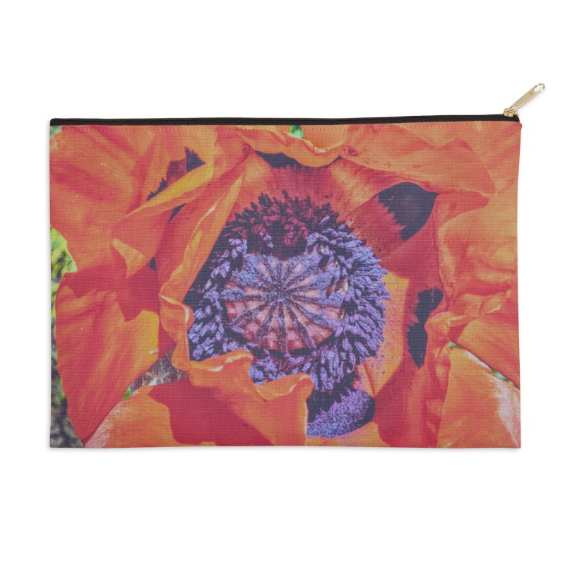Poppy Burning Bright Accessories Zip Pouch by Ella Arrow, Curator of Wonder