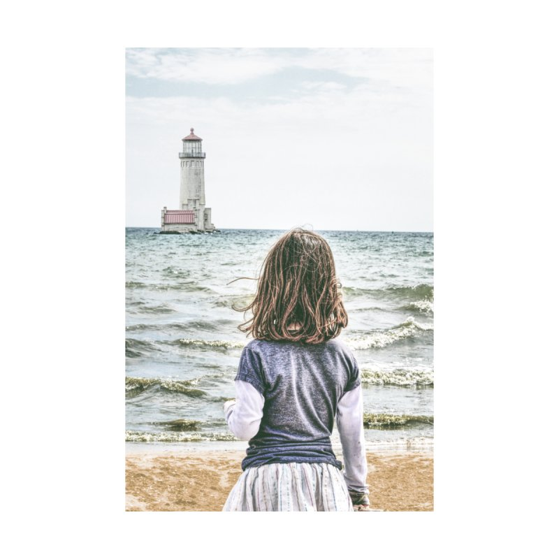 Girl with Lighthouse Home Stretched Canvas by Ella Arrow, Curator of Wonder