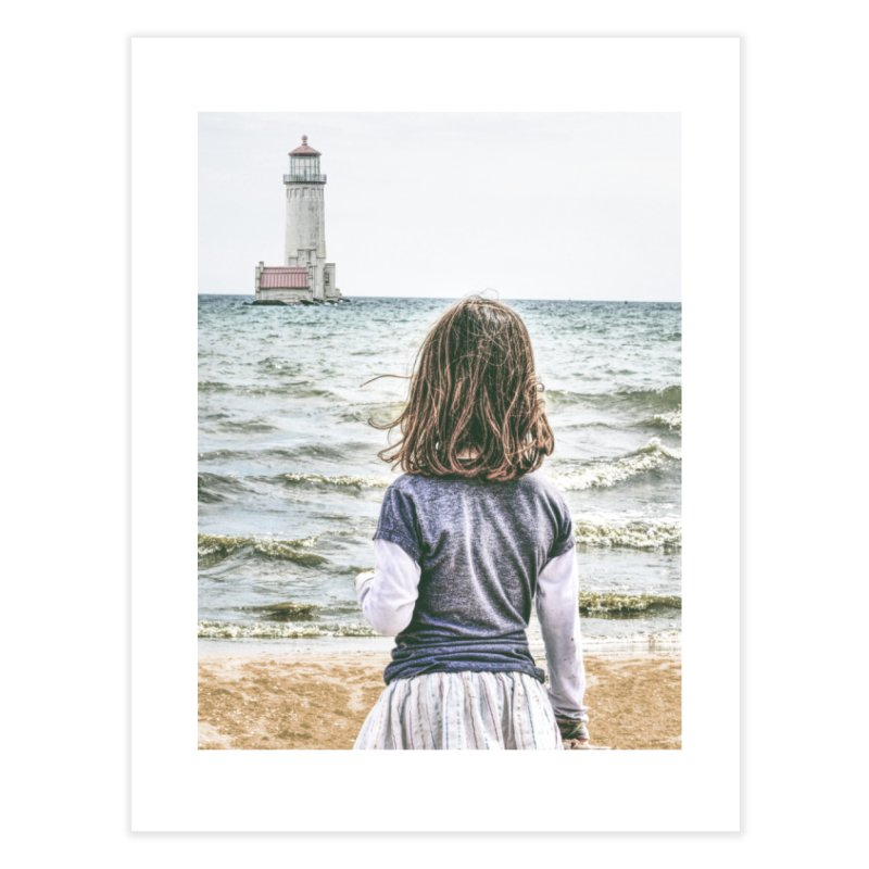 Girl with Lighthouse Home Fine Art Print by Ella Arrow, Curator of Wonder
