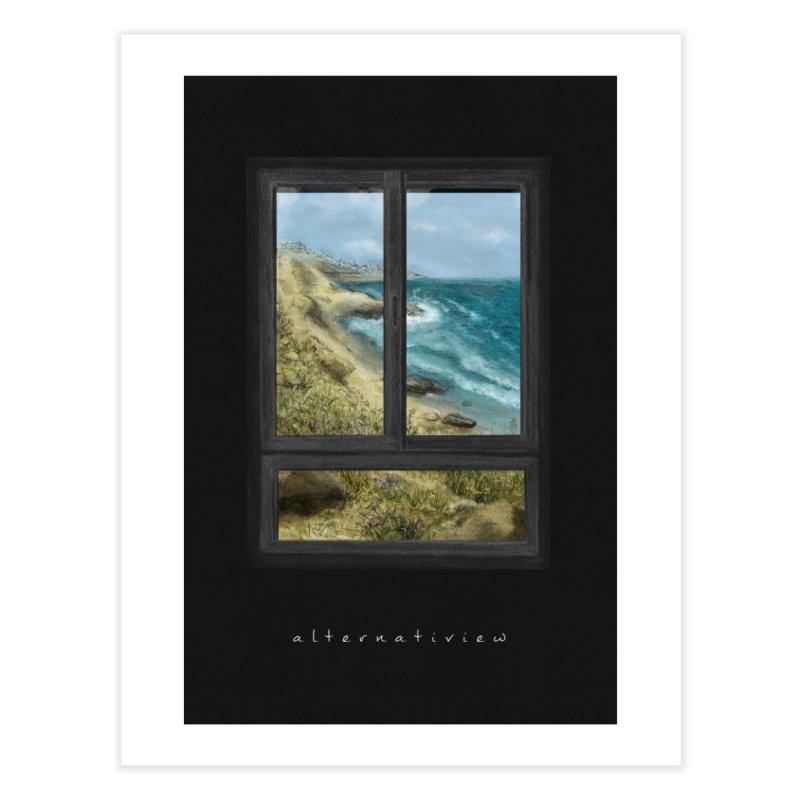 WIN VIEW - SEA (black) Home Fine Art Print by ellagershon's Artist Shop