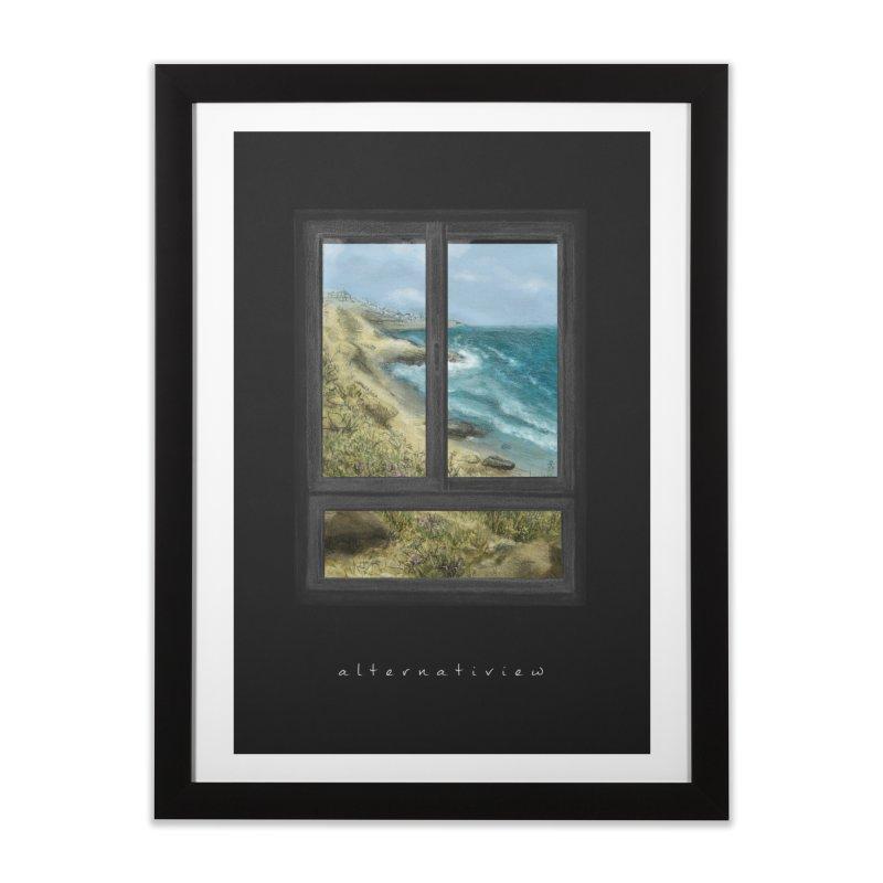 WIN VIEW - SEA (black) Home Framed Fine Art Print by ellagershon's Artist Shop