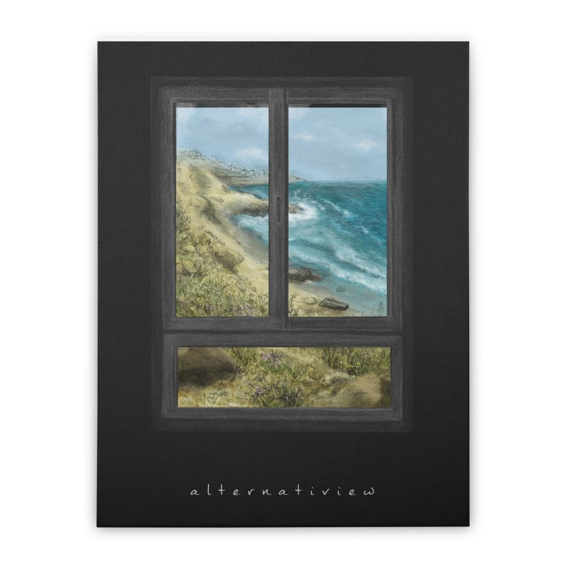 WIN VIEW - SEA (black) Home Stretched Canvas by ellagershon's Artist Shop