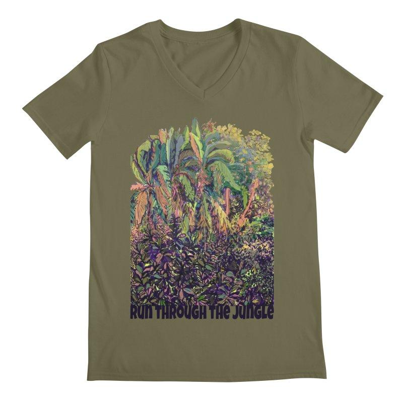 run thru the jungle Men's Regular V-Neck by ellagershon's Artist Shop