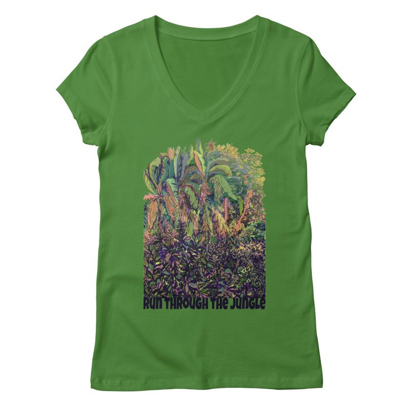 run thru the jungle Women's Regular V-Neck by ellagershon's Artist Shop