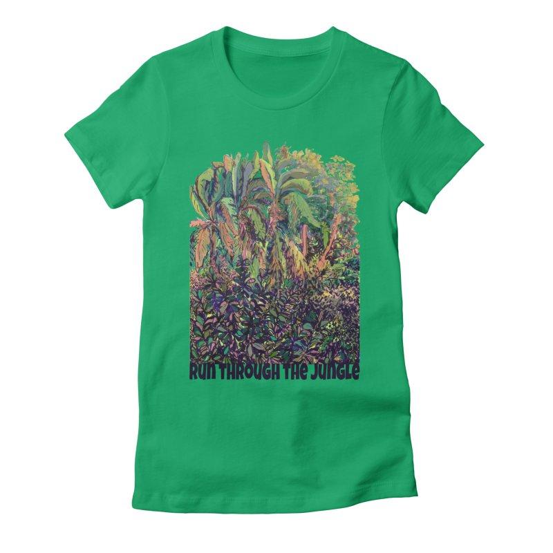 run thru the jungle Women's Fitted T-Shirt by ellagershon's Artist Shop