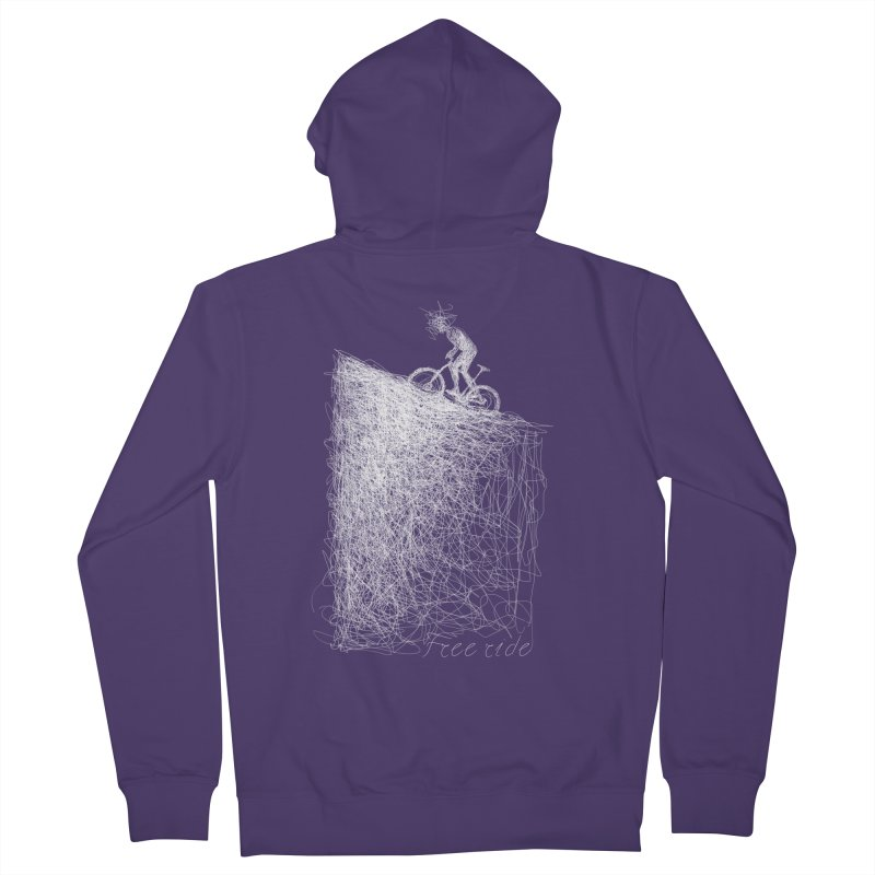 free ride - white Women's French Terry Zip-Up Hoody by ellagershon's Artist Shop