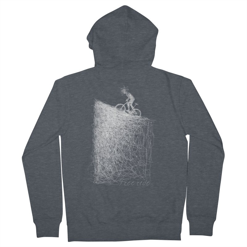 free ride - white Men's French Terry Zip-Up Hoody by ellagershon's Artist Shop