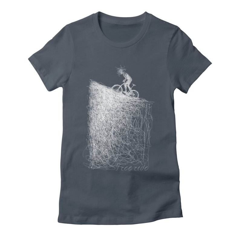 free ride - white Women's Fitted T-Shirt by ellagershon's Artist Shop