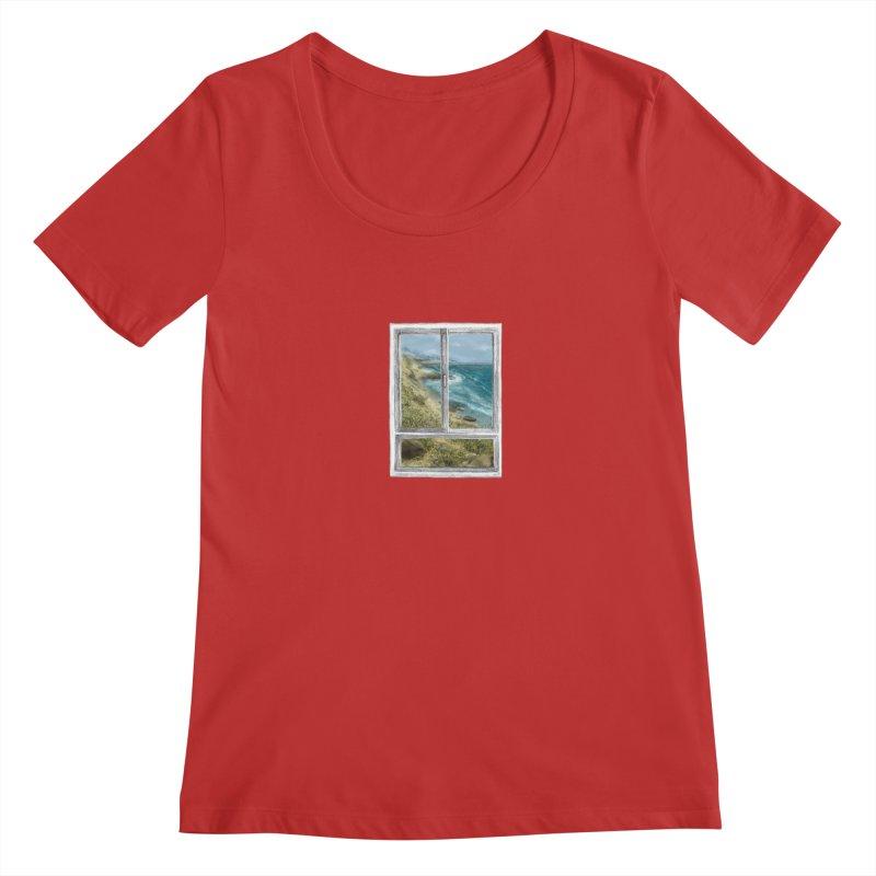 win view - sea Women's Scoopneck by ellagershon's Artist Shop