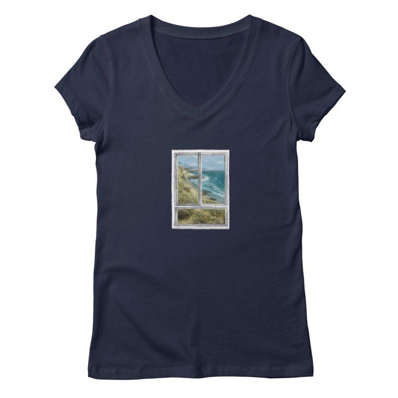 win view - sea Women's Regular V-Neck by ellagershon's Artist Shop