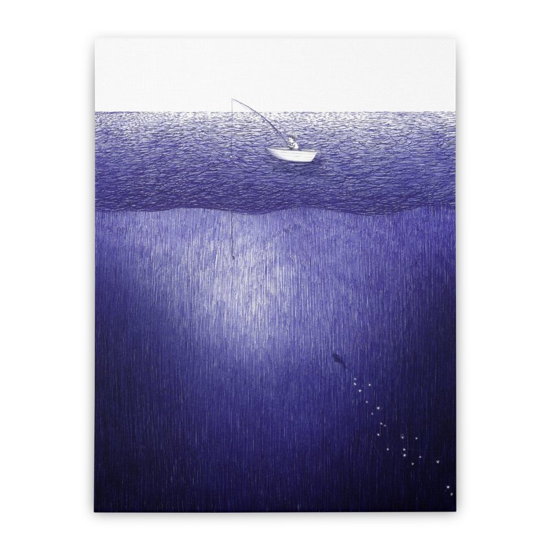 blue pen sea 1 Home Stretched Canvas by ellagershon's Artist Shop