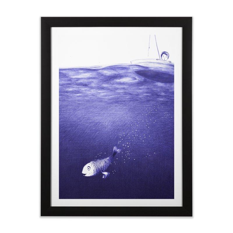 blue pen sea 2 Home Framed Fine Art Print by ellagershon's Artist Shop