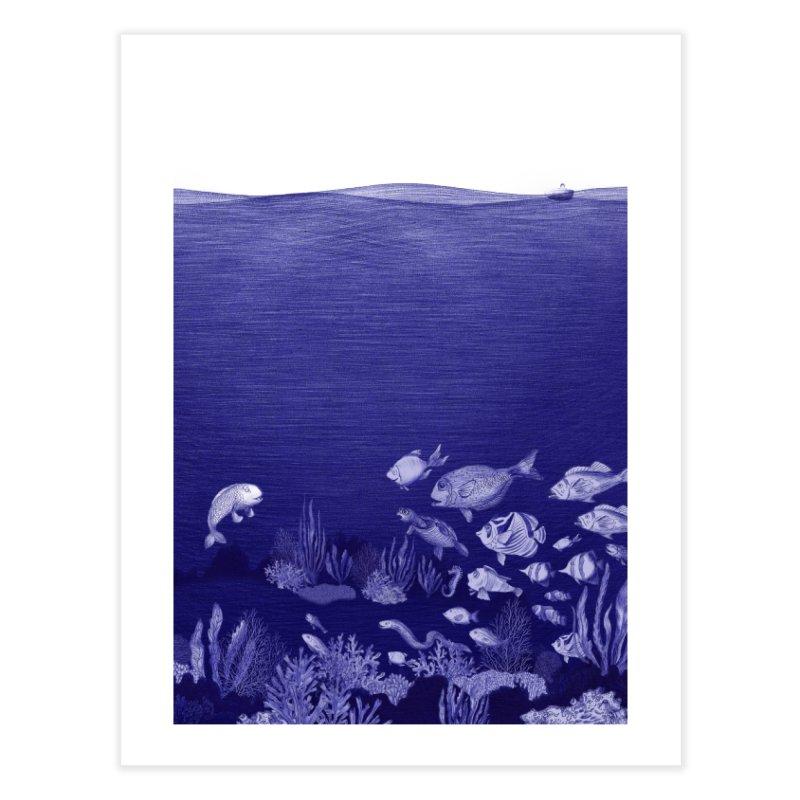 blue pen sea 3 Home Fine Art Print by ellagershon's Artist Shop