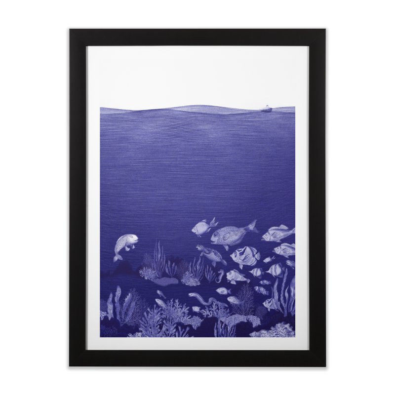 blue pen sea 3 Home Framed Fine Art Print by ellagershon's Artist Shop