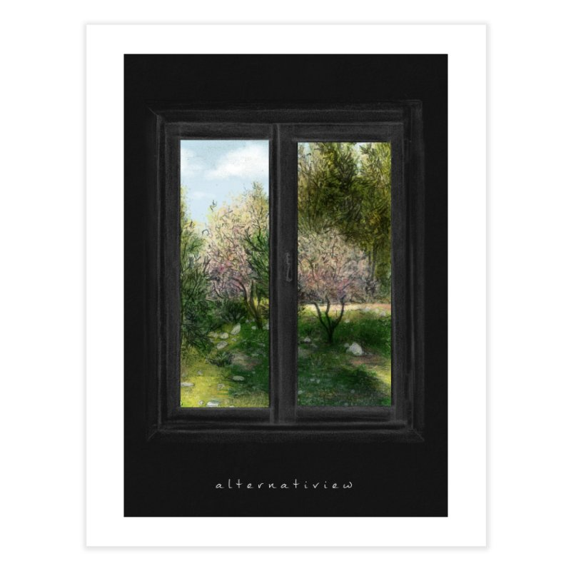 win view spring (black) Home Fine Art Print by ellagershon's Artist Shop