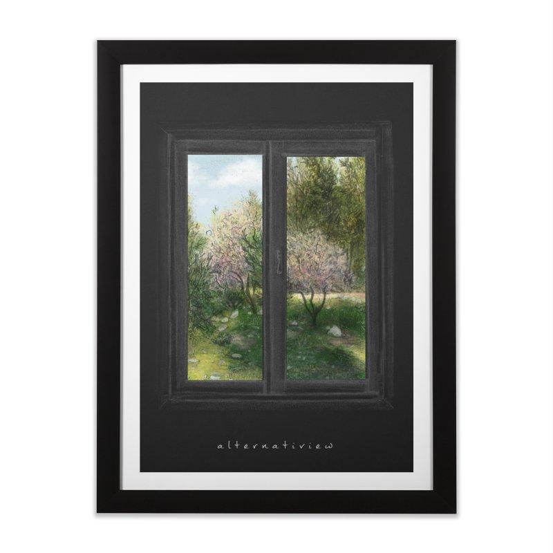 win view spring (black) Home Framed Fine Art Print by ellagershon's Artist Shop