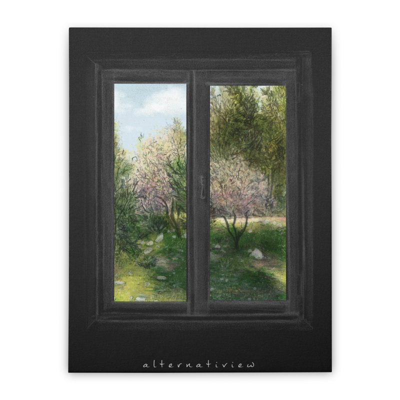 win view spring (black) Home Stretched Canvas by ellagershon's Artist Shop