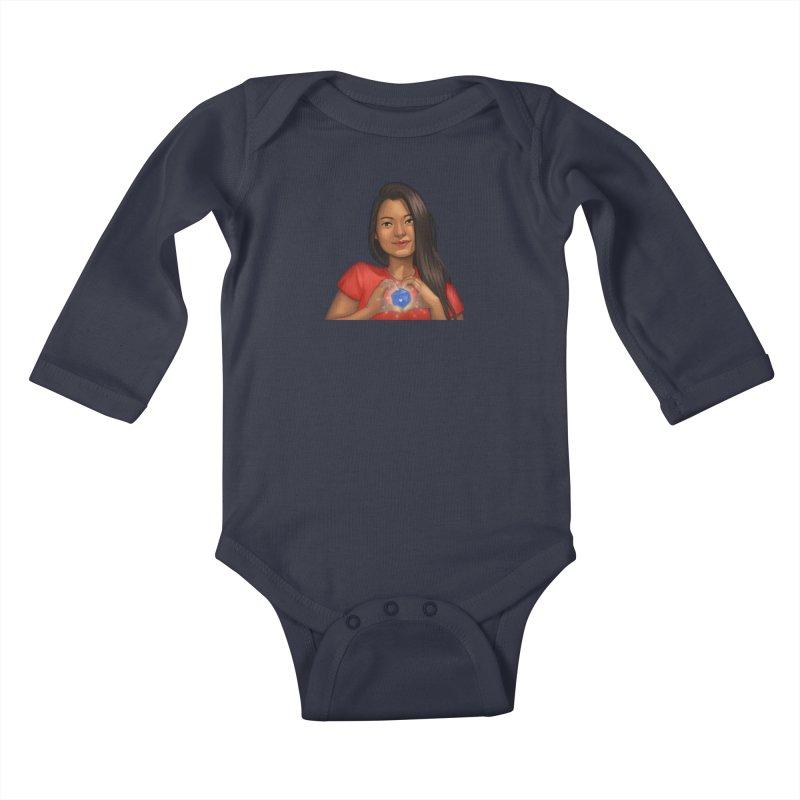 Heart & D20 Kids Baby Longsleeve Bodysuit by ELLA LOVES BOARDGAMES