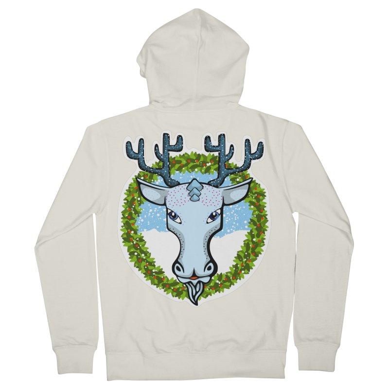 Winter Spirit Animal Men's French Terry Zip-Up Hoody by elledeegee's Artist Shop