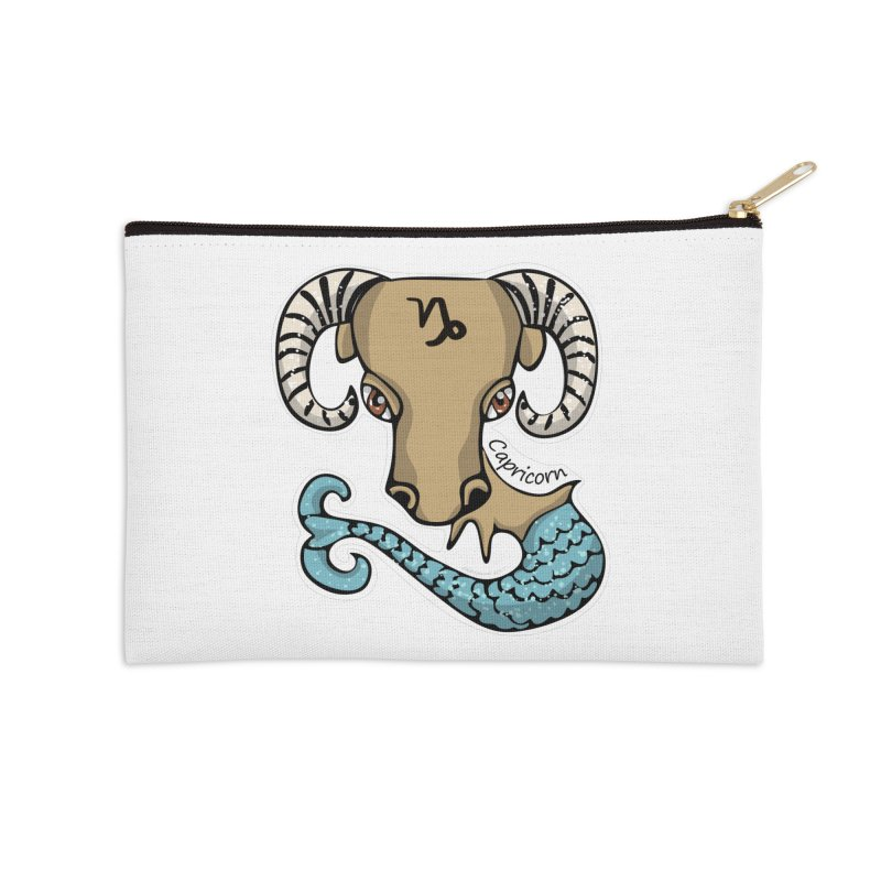 Capricorn Fish Goat Accessories Zip Pouch by elledeegee's Artist Shop