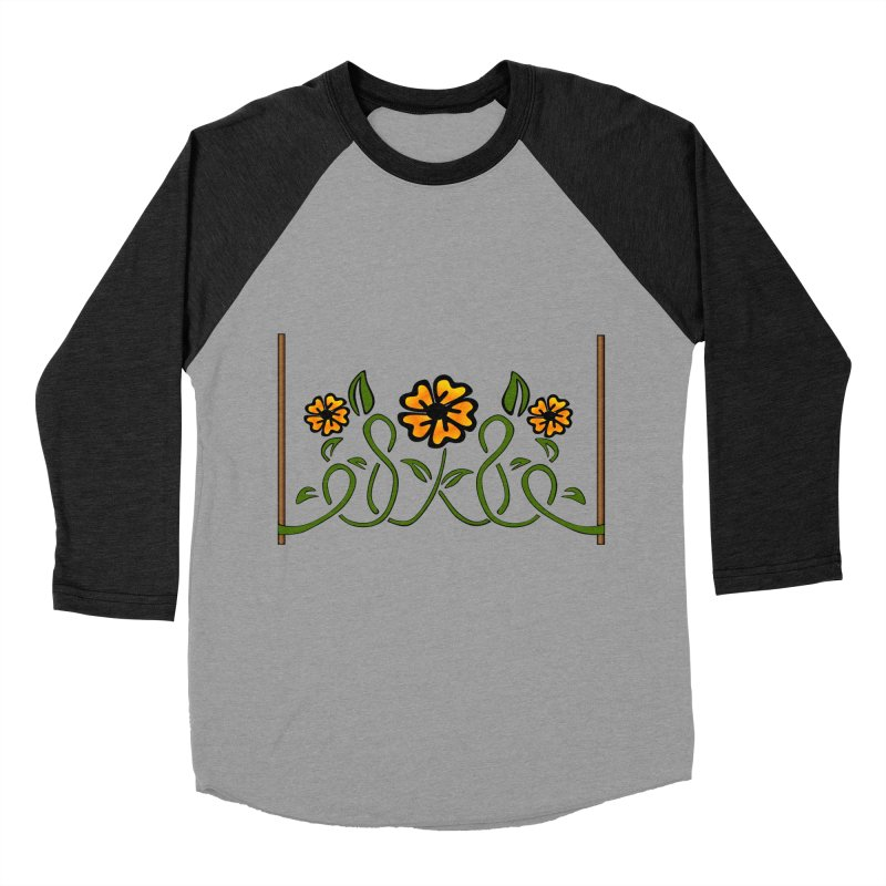 Stenciled Flowers Women's Baseball Triblend Longsleeve T-Shirt by elledeegee's Artist Shop