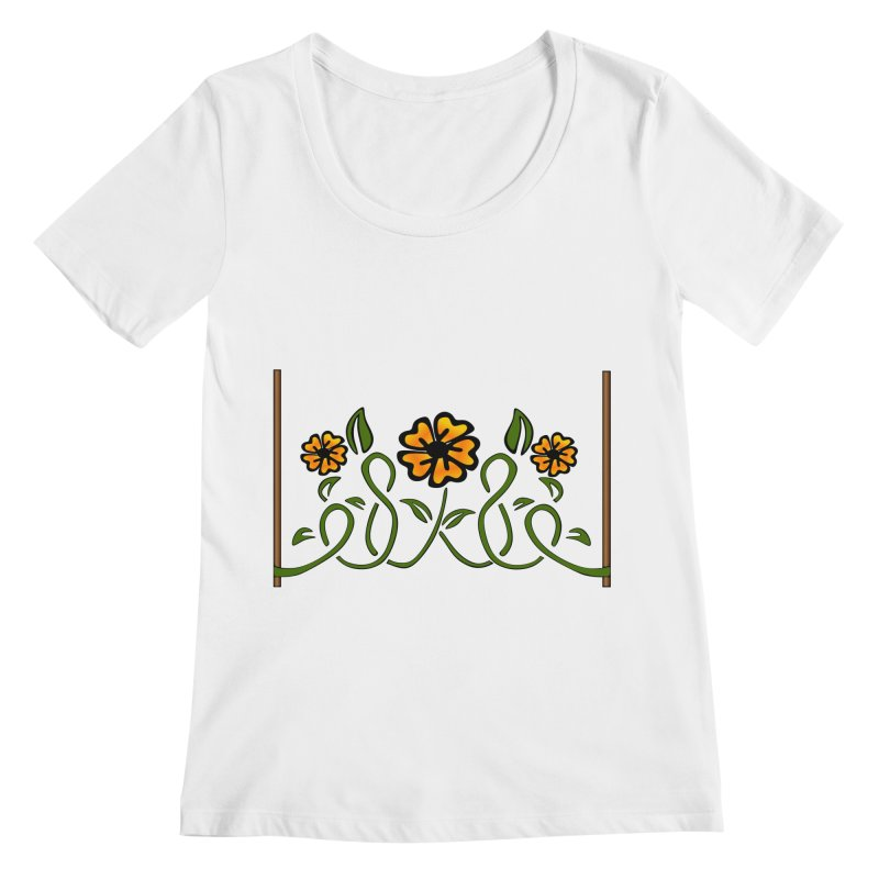 Stenciled Flowers Women's Regular Scoop Neck by elledeegee's Artist Shop
