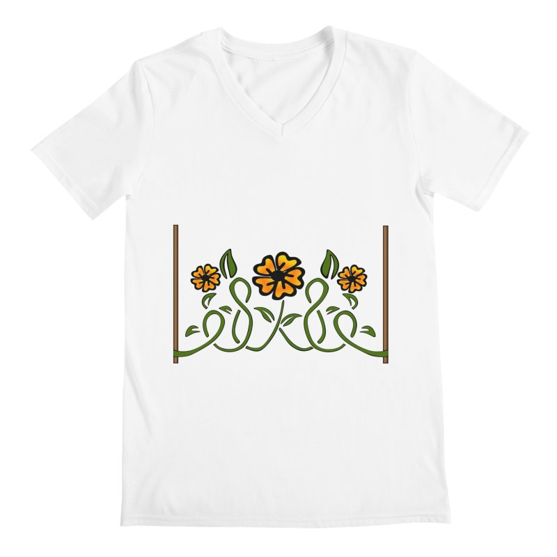 Stenciled Flowers Men's V-Neck by elledeegee's Artist Shop
