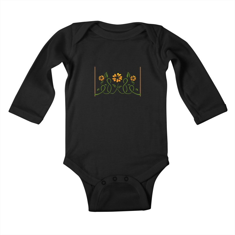 Stenciled Flowers Kids Baby Longsleeve Bodysuit by elledeegee's Artist Shop