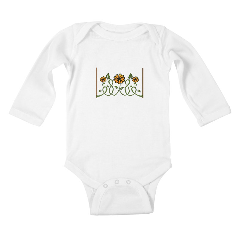 Stenciled Flowers Kids Baby Longsleeve Bodysuit by elledeegee's Artist Shop