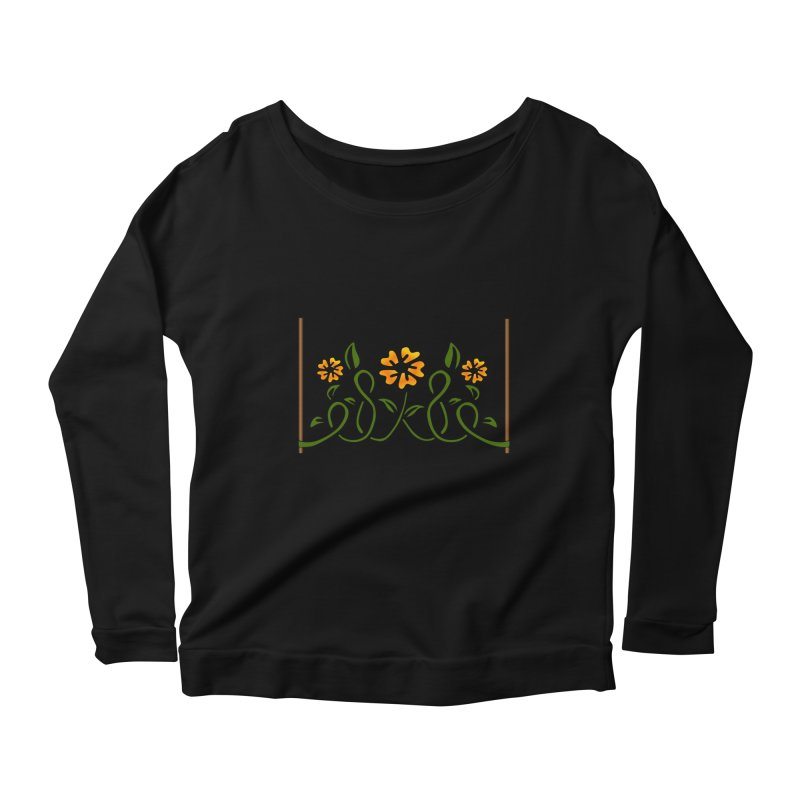 Stenciled Flowers Women's Scoop Neck Longsleeve T-Shirt by elledeegee's Artist Shop