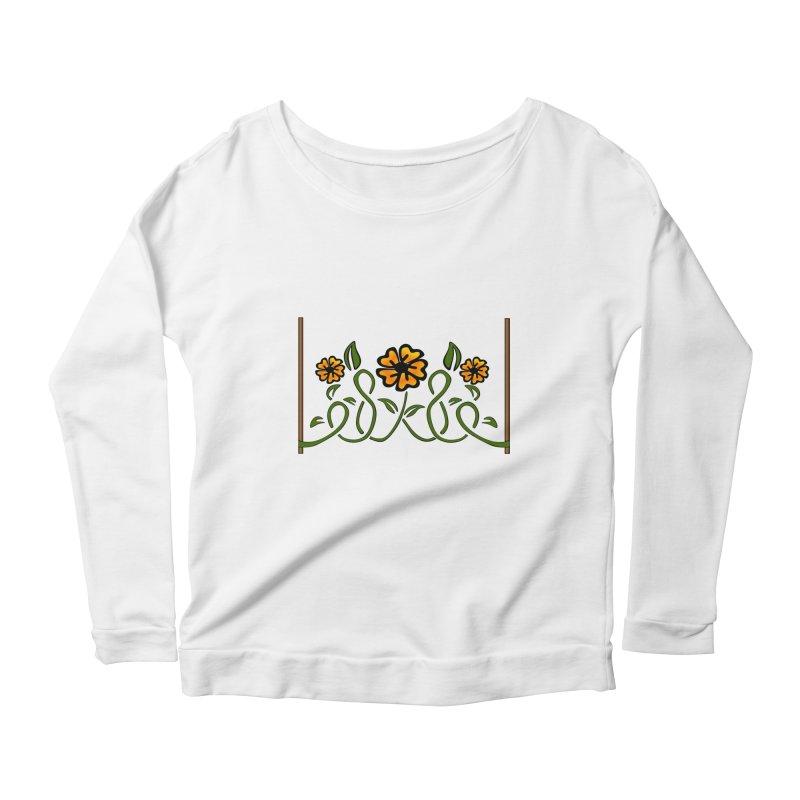 Stenciled Flowers Women's Scoop Neck Longsleeve T-Shirt by elledeegee's Artist Shop