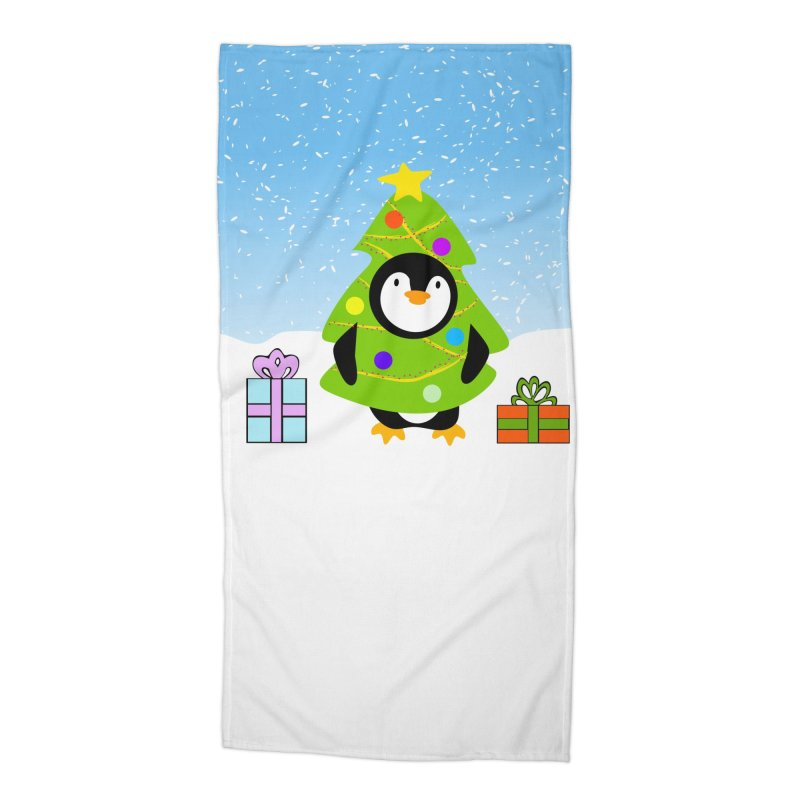 Christmas tree Penguin Accessories Beach Towel by elledeegee's Artist Shop