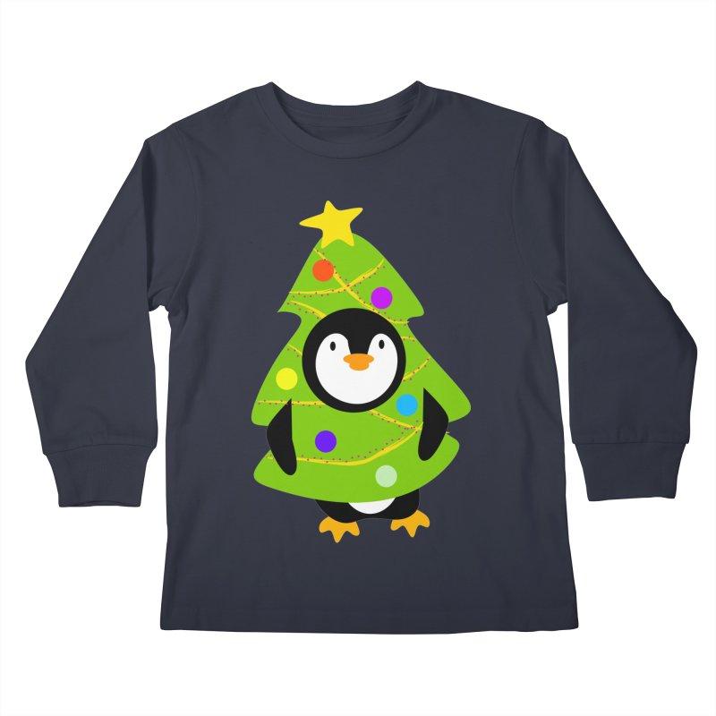 Christmas tree Penguin Kids Longsleeve T-Shirt by elledeegee's Artist Shop