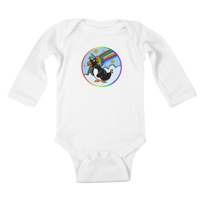 Pengicorn Kids Baby Longsleeve Bodysuit by elledeegee's Artist Shop